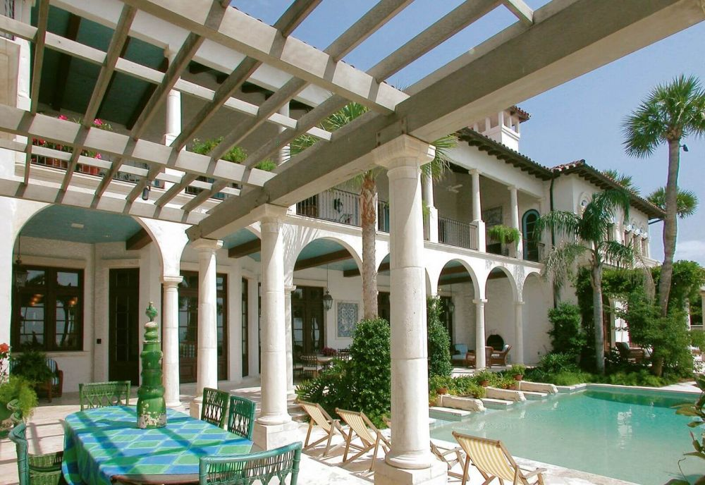 Outdoor pergola with arches and pool