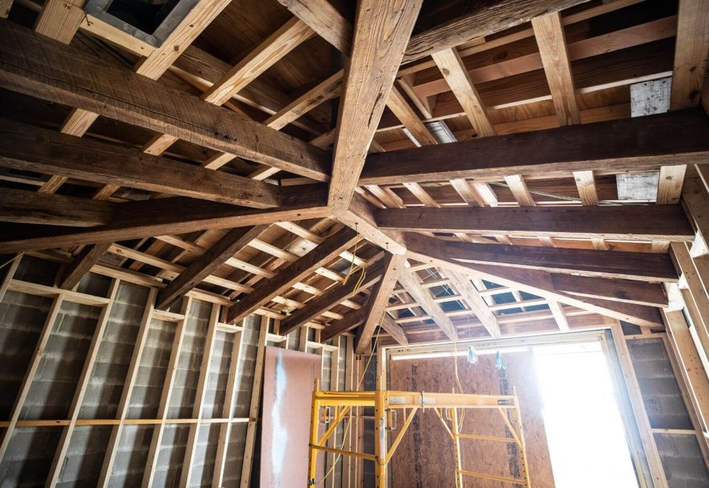 Wood Beam ceiling under construction