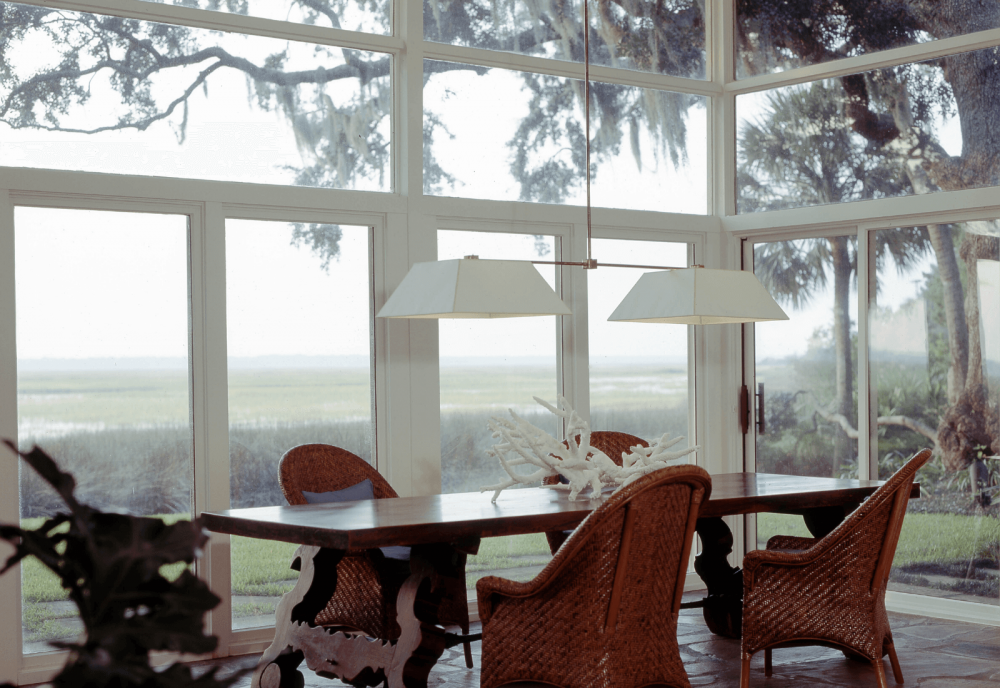 Remodeled home Sea Island dining room with marsh view