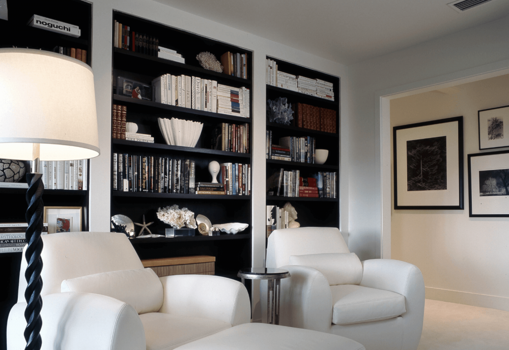 Home library with white furniture Sea Island
